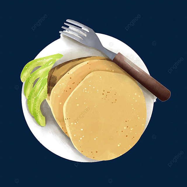 pancakes with avocado fork cutlery clipart