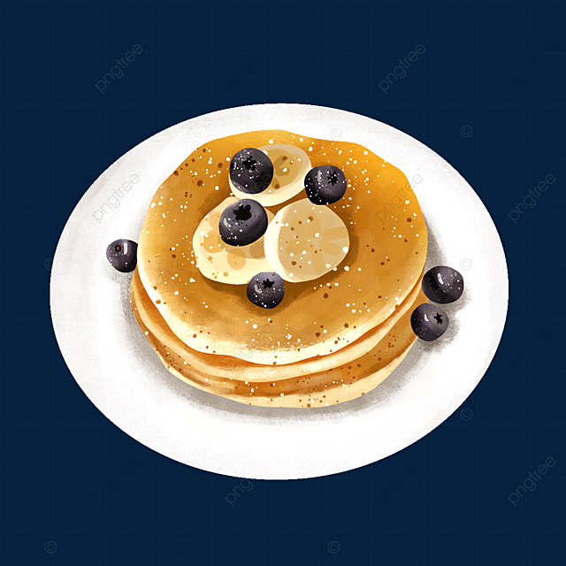 pancakes with berry banana fruit clipart