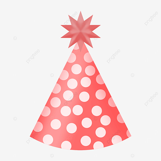 red and white spots art birthday party hat clipart