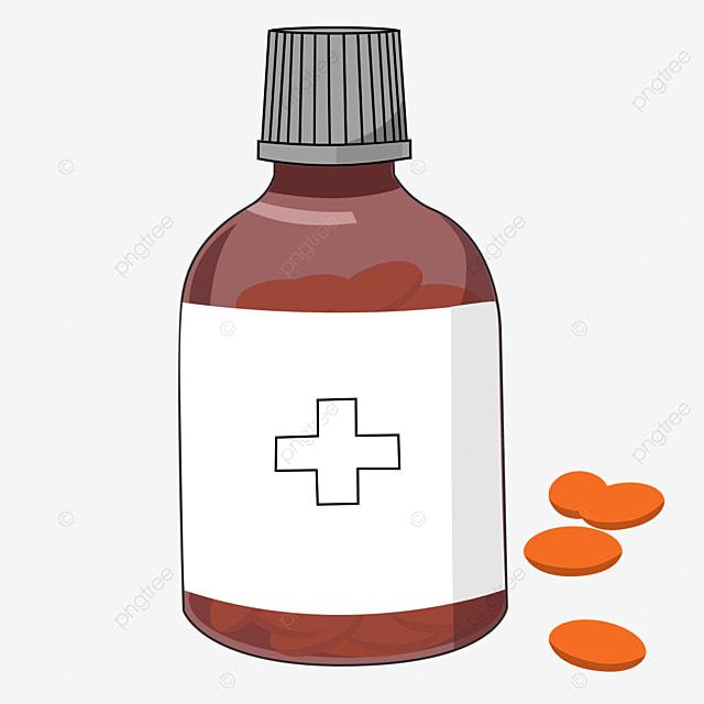 red transparent medicine bottle clipart