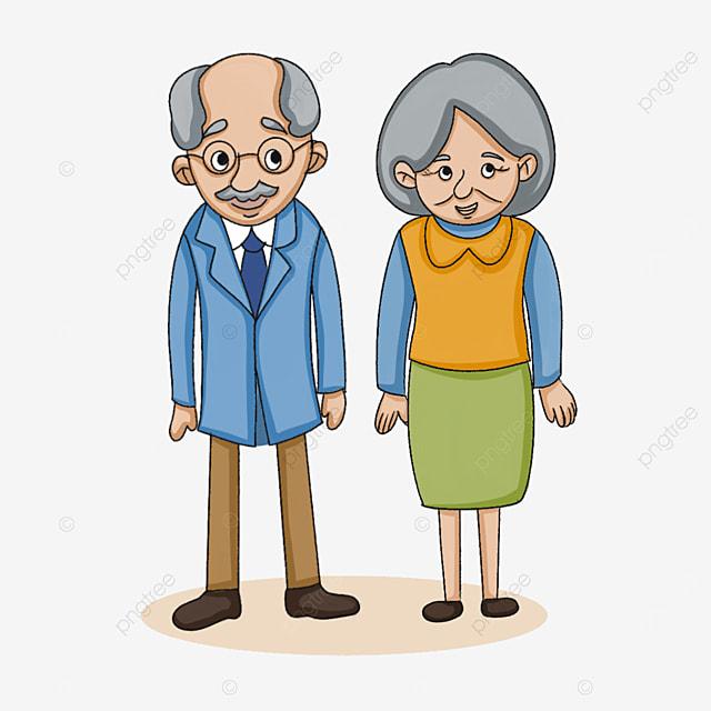 two cute elderly people clipart