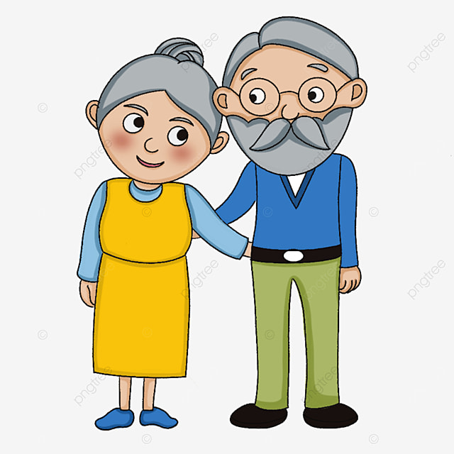 two cute old people clipart