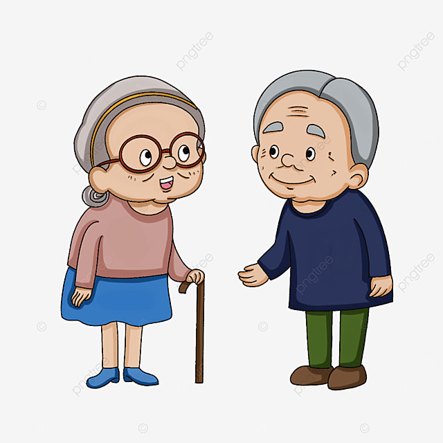 two kind elderly people clipart