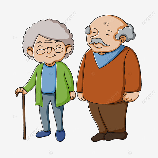 two smiling elderly people clipart