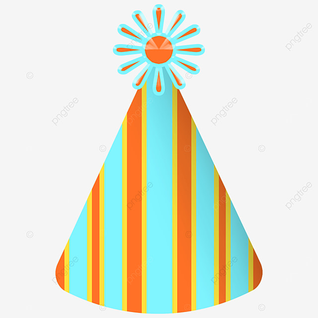vertical stripes blue orange birthday party hat clipart