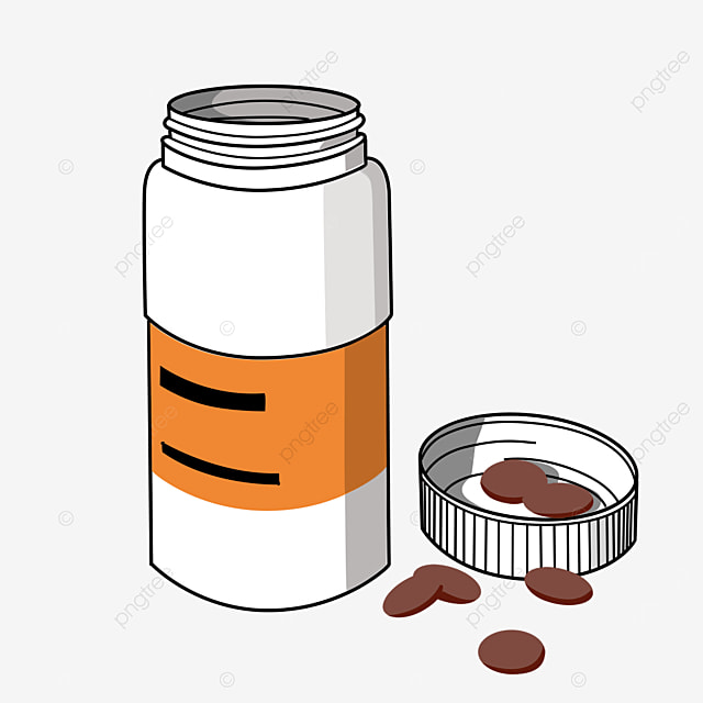 white cylindrical medicine bottle clipart