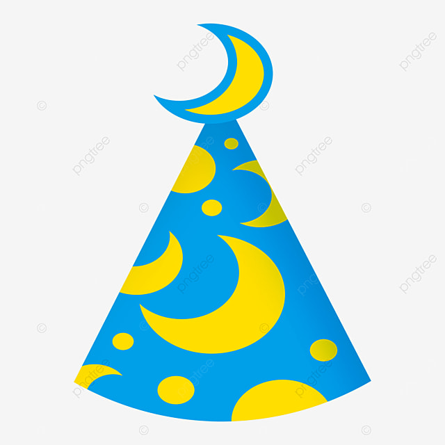 yellow blue moon star shape birthday party hat clipart