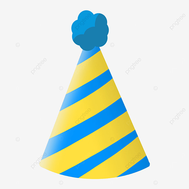 yellow blue striped cartoon birthday party hat clipart