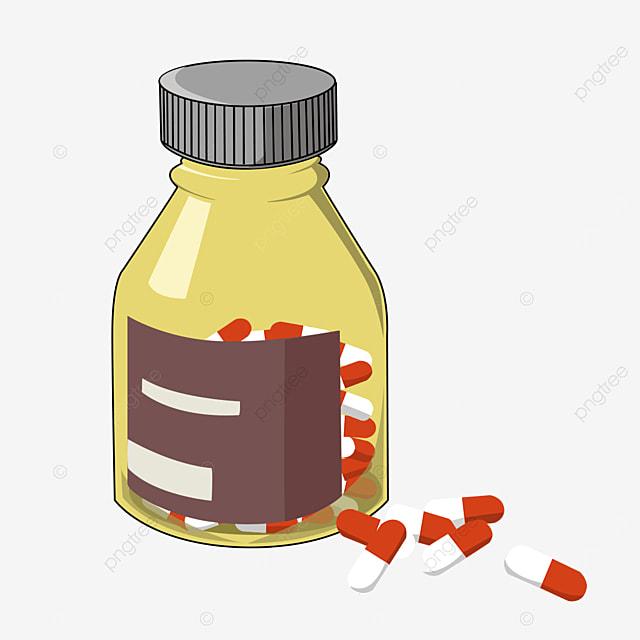yellow transparent medicine bottle clipart