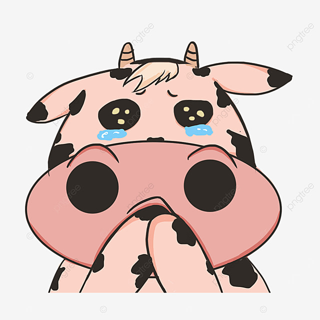 aggrieved cow face with tears clip art
