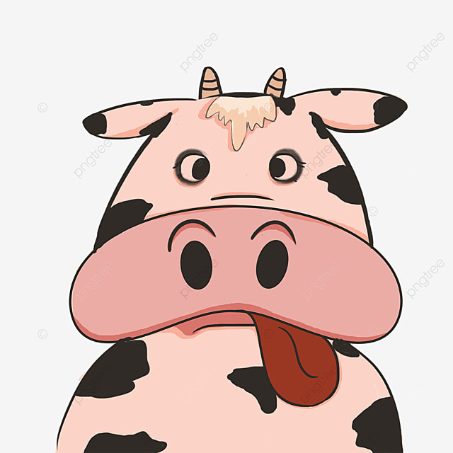 angry cow face with tongue out clipart