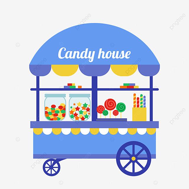 blue candy vending cart at street stall market