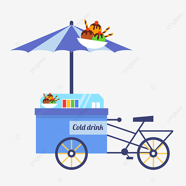blue cold drink ice cream sales cart in street stall market