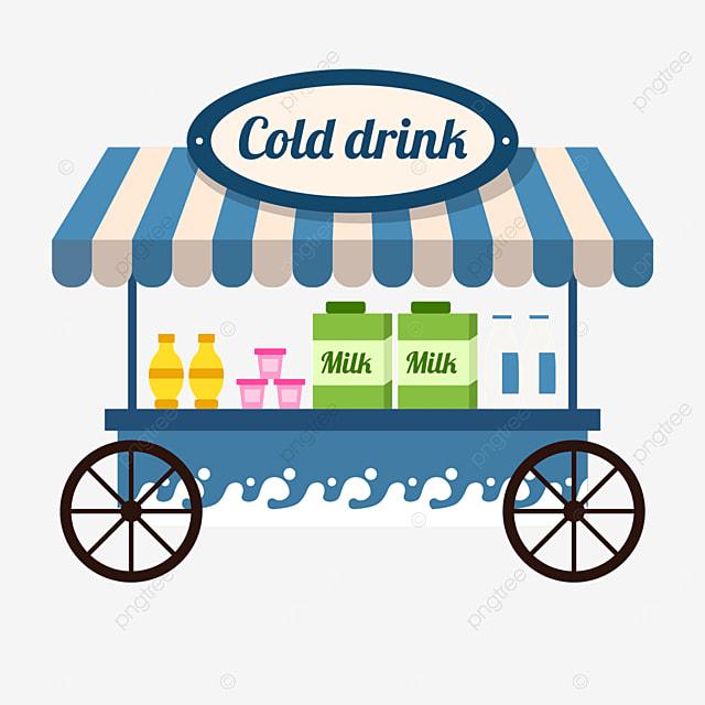 blue milk cold drink street stall market sales cart