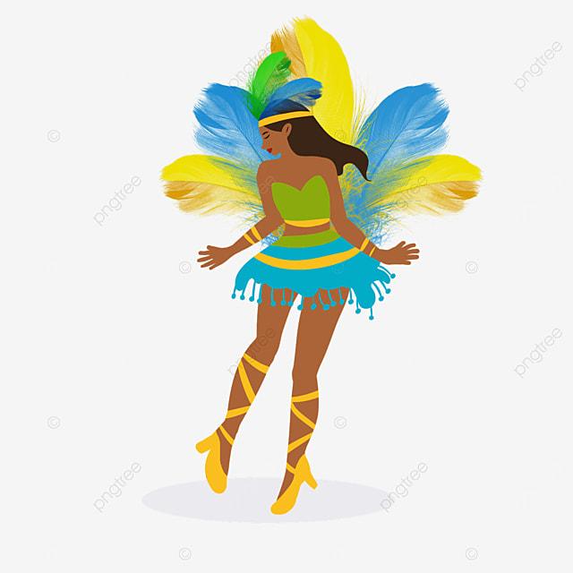 brazilian carnival colorful feather dancers