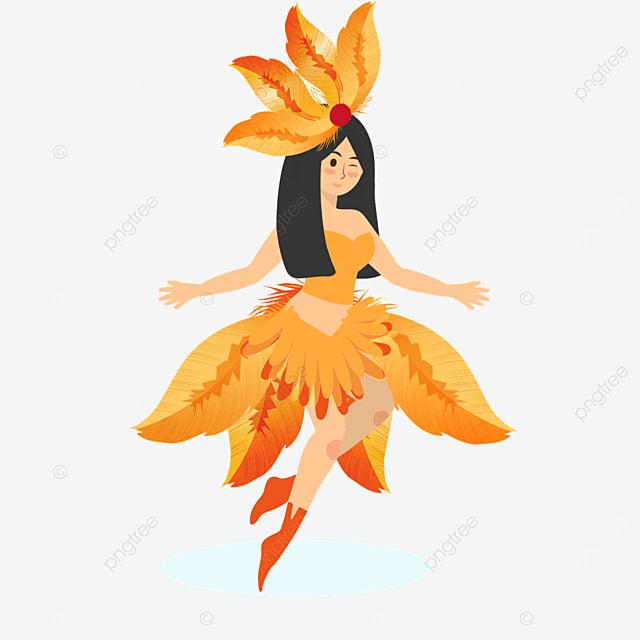 brazilian carnival dancers in orange costumes