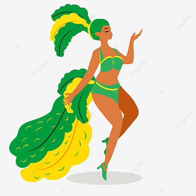 brazilian carnival green creative dress up dancers