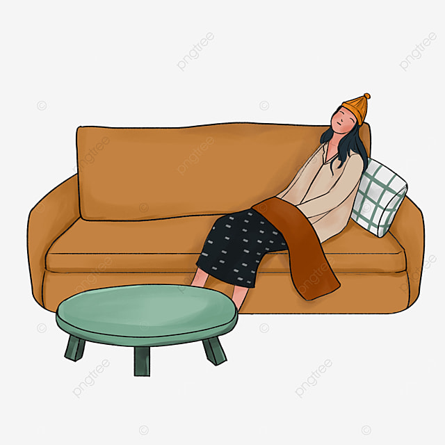 brown leather sofa lazy clip art