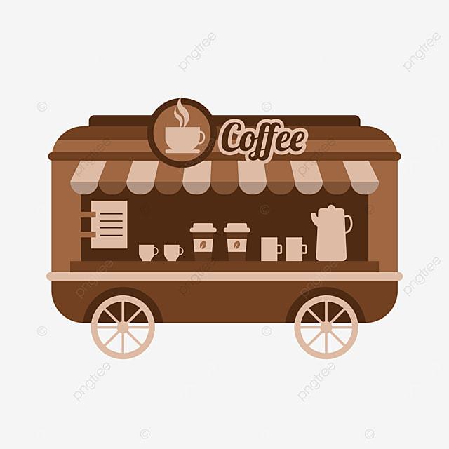 brown street stall market coffee vending cart