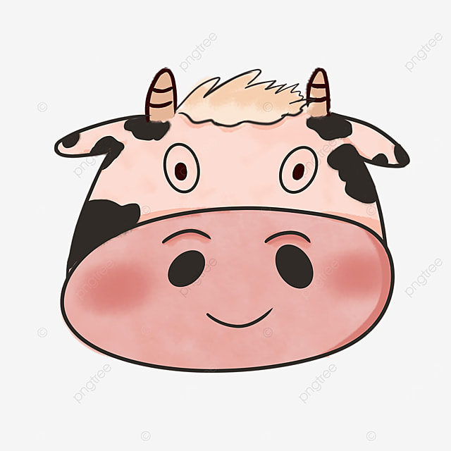 cute and gentle cow face clipart
