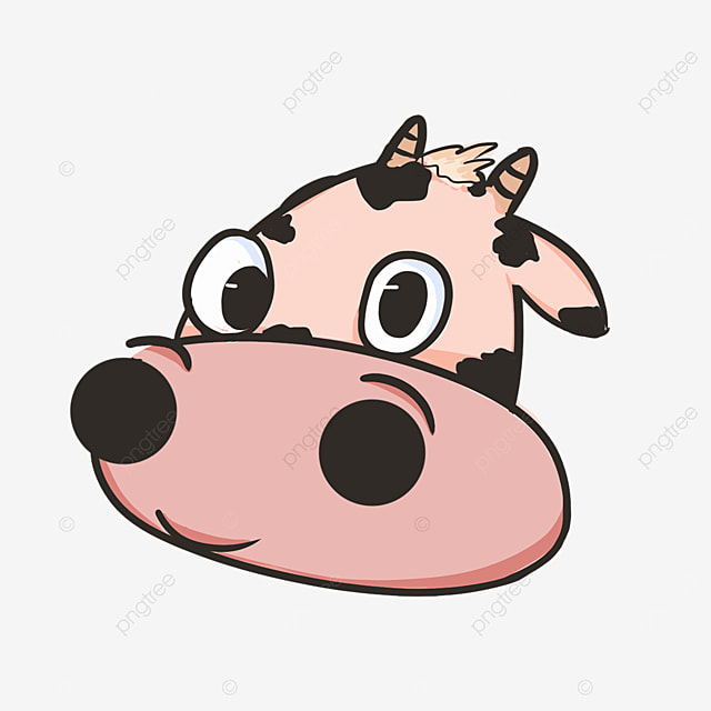 cute cow face with side face pouting clipart