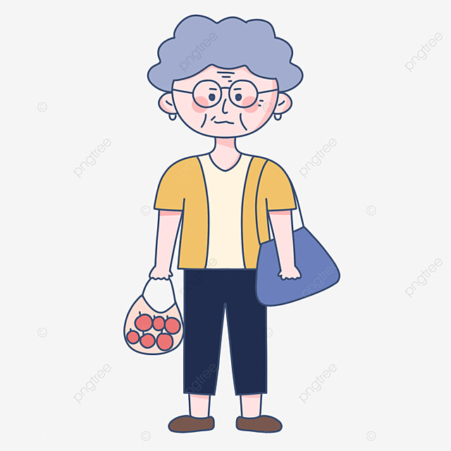 cute kindly happy old man shopping clipart
