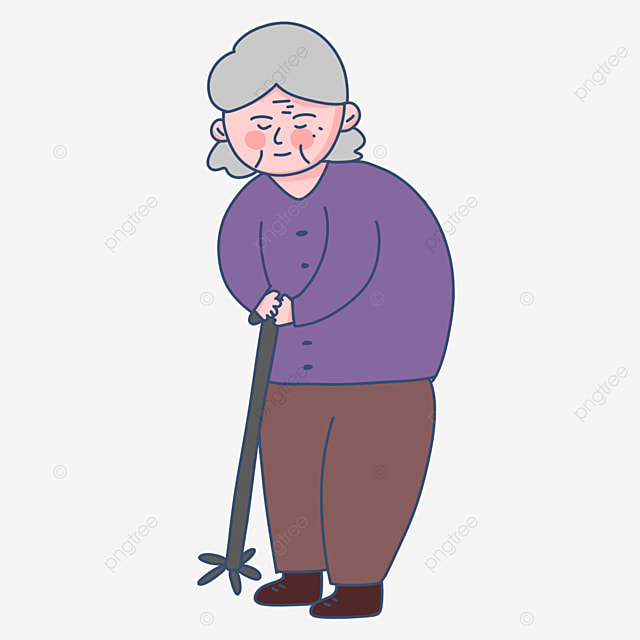 elderly man walking with a cane clipart