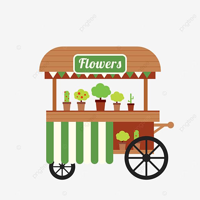 flat wind street stall market flower sales cart