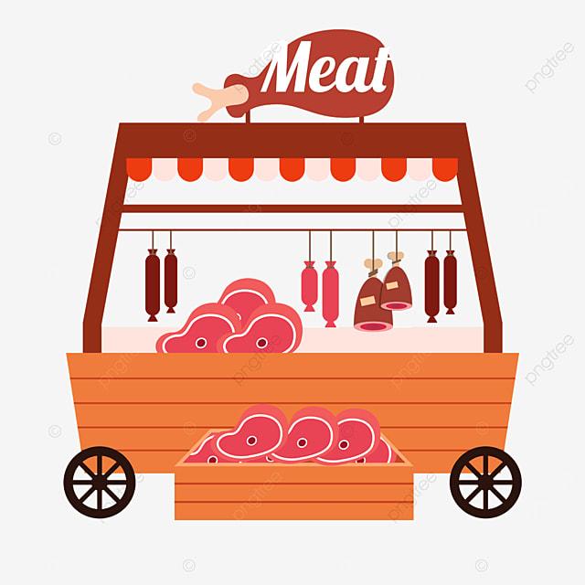 flat wind street stall market orange meat vending cart