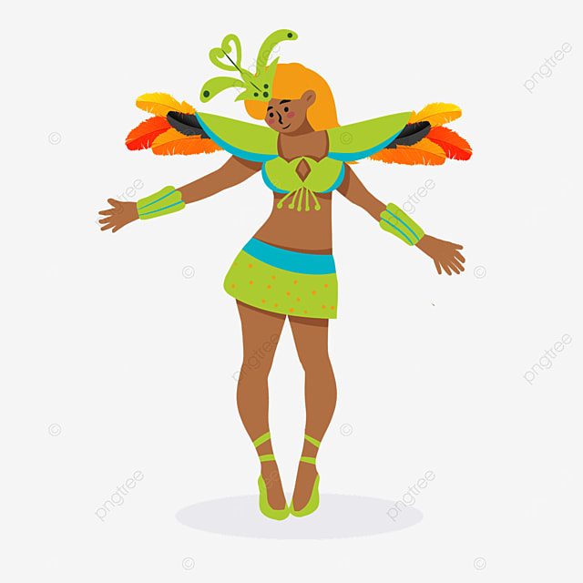 green brazilian carnival dancers
