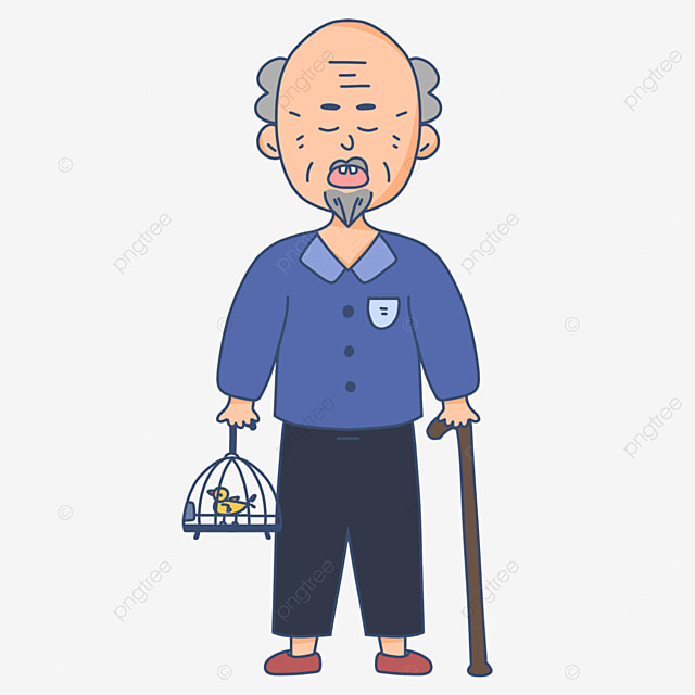 leisurely walk the birds and bend the kind old man clipart