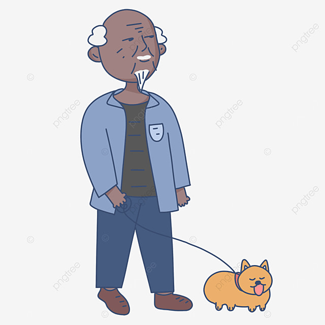 leisurely walk the dog walk the old man clipart