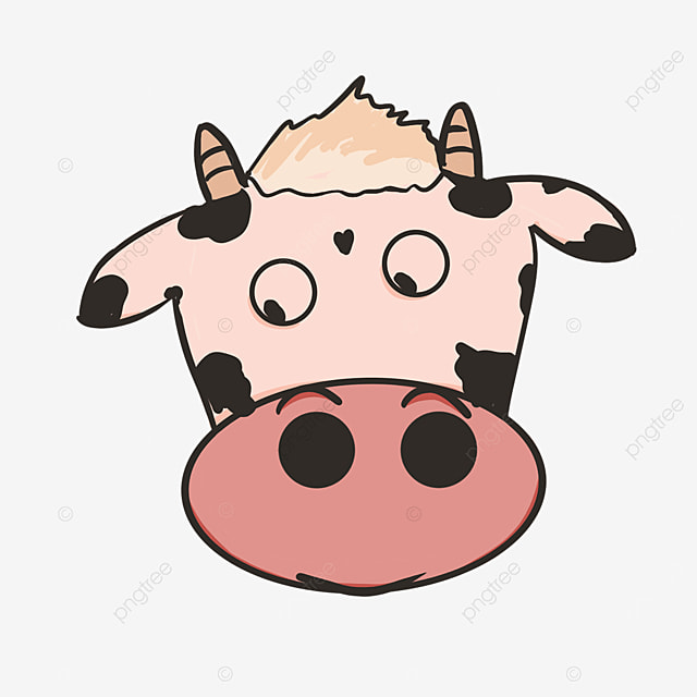 low eyed curious exploring cow face clipart