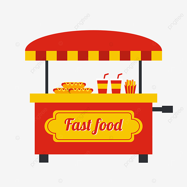 minimalist flat style hot dog beverage street stall market selling red carts