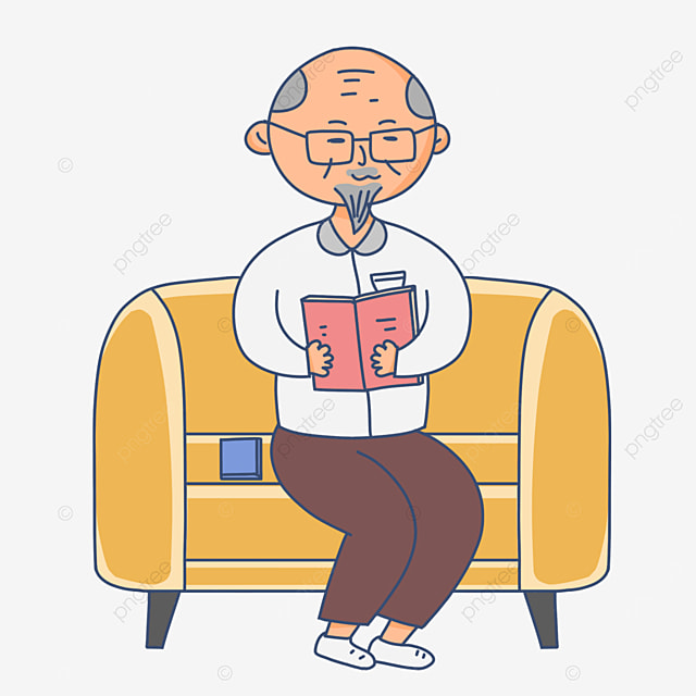 old man in home quiet reading reading book clipart