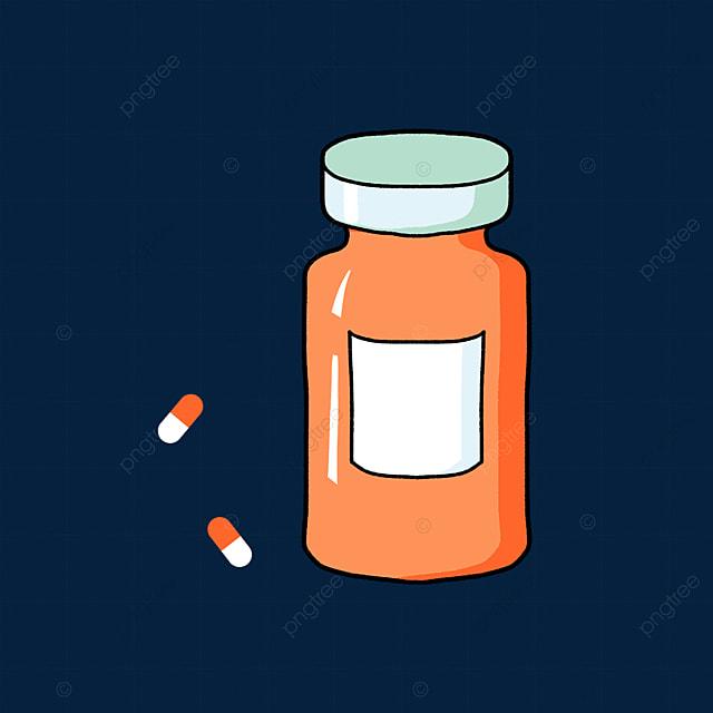 orange medicine bottle with pills clipart