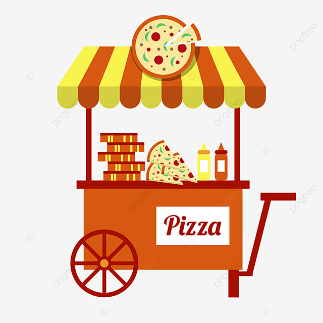 orange pizza flat style street stall market cart
