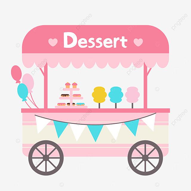 pink simple street stall market dessert car