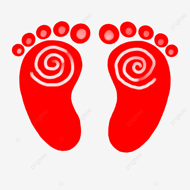 red baby footprints clipart