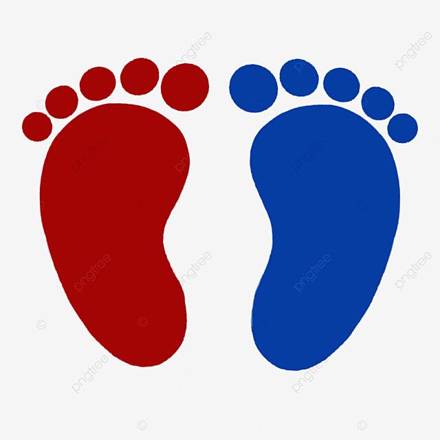 red blue baby footprints clip art
