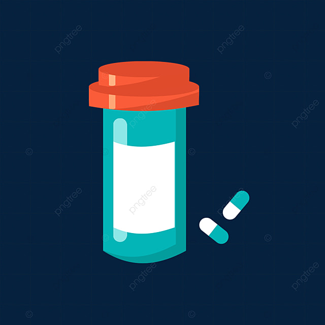 red blue medicine bottle with pills clipart