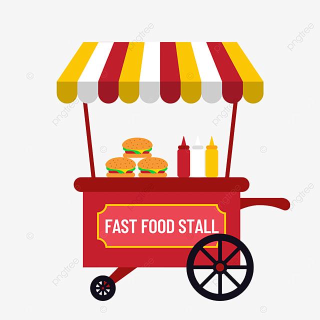 red fast food street stall market flat wind cart