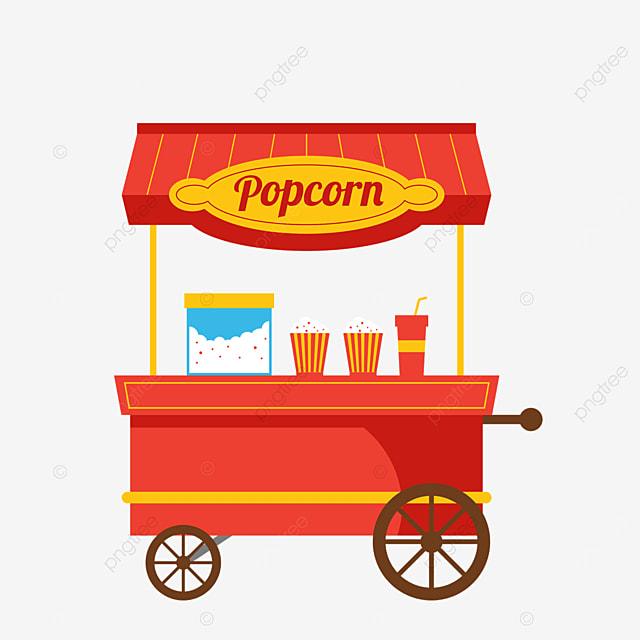 red popcorn cart at street stall market