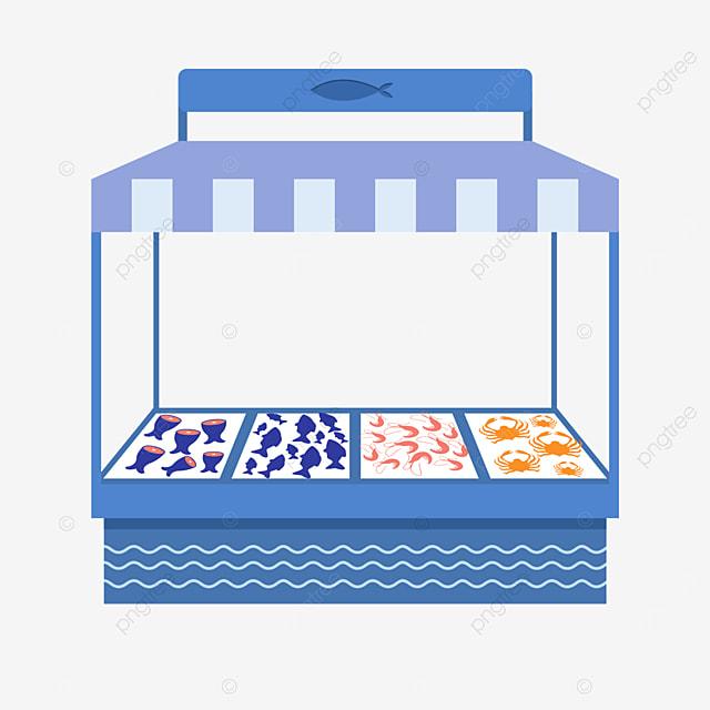 simple blue street stall market seafood selling stall