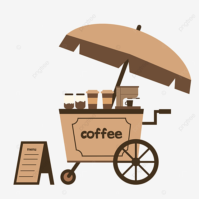 street stall market brown coffee selling trolley