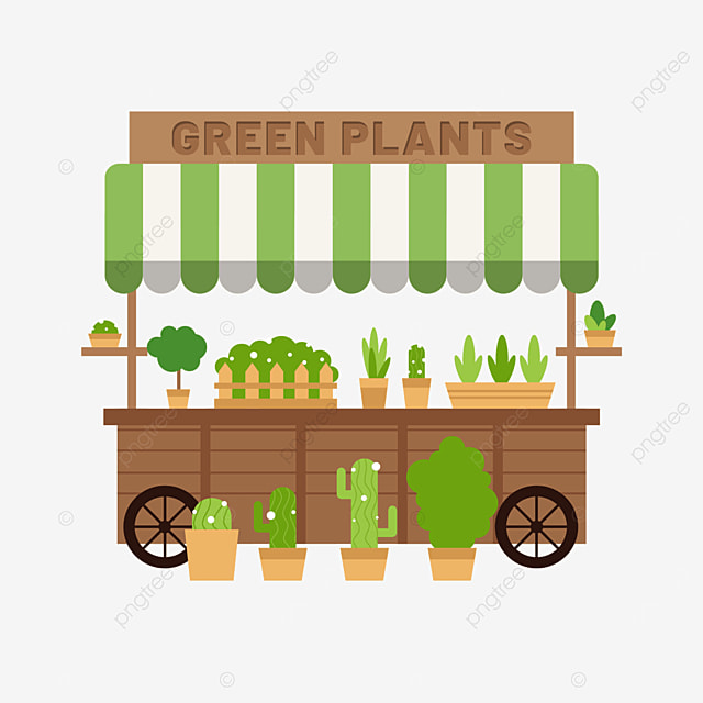 street stall market green plant sales cart
