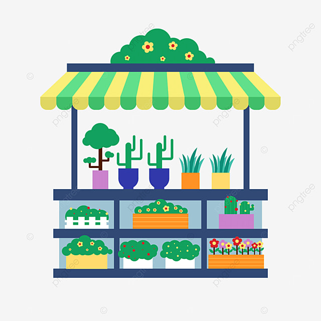 street stall market green potted cart