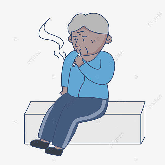 thinking old man sitting on chair smoking clipart