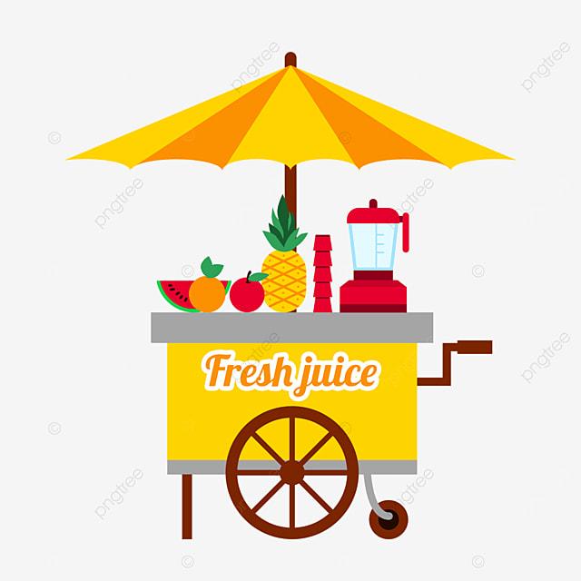 tropical fruit street stall market yellow cart