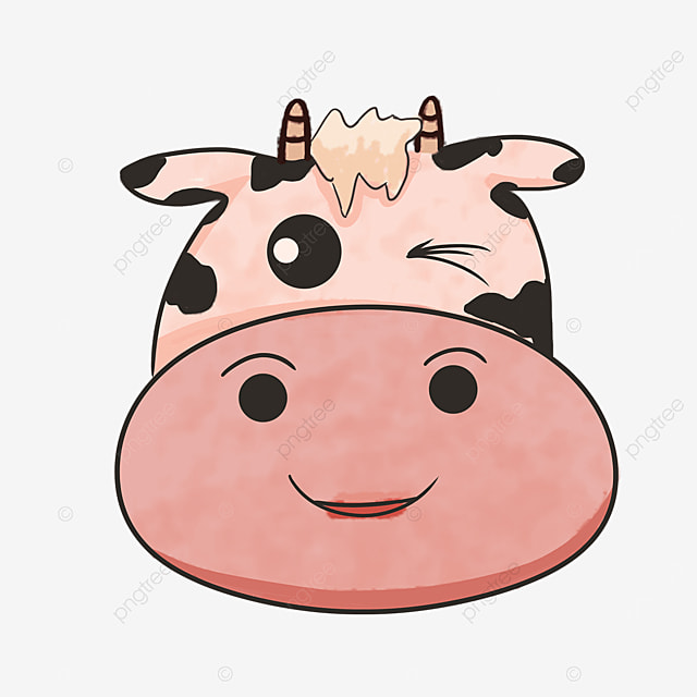 winking naughty cow face clip art